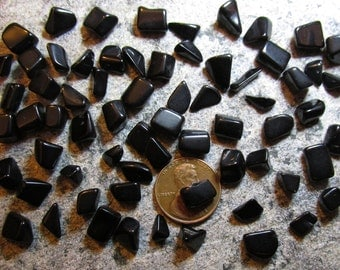 Tumbled Blackstone: Tiny Mini-Stones about 5mm to 10mm long- Undrilled/ no holes- Angular, squared off shapes- Choose lots of 10, 25, or 100
