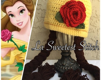 Belle inspired handmade crocheted hat