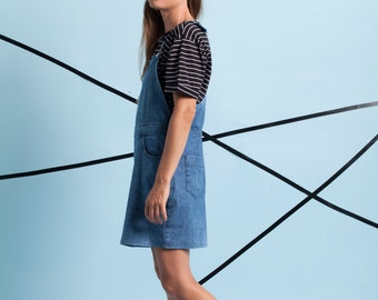 New! Denim pinafore dress, women overall, mini denim dress, skirt overall, blue dress, denim mini dress, blue mini dress by Meanwhile.