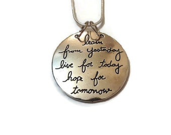 Quote Pendant, Quote Necklace, Silver Pendant Necklace, Silver Pendant, Silver Necklace, Pendant Necklace, Necklace With Quote