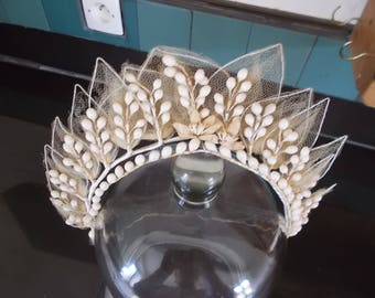 Antique French Brides Wax Crown. Wedding Corsage. Antique French Wax Orange Blossom Wedding Tiara.  Wax Wedding Tiara