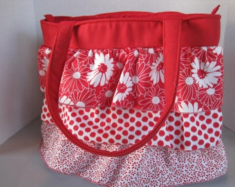Handbag Purse Women's Accessories Fabric Handmade Ruffles Red Prints