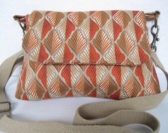Handbag Crossbody Purse Fabric Handmade Mini Messenger Bag Women Girls Accessories Orange Leaf