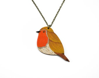 Wood robin necklace, painted necklace, garden bird necklace, wooden jewellery, robin pendant