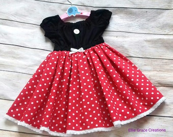 Handmade Girls Minnie Mouse Dress, Minnie Mouse,  Twirl Dress, Party Dress, Holiday Dress. Ages 12 Months - 10 Years