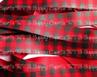 "7/8"" Buffalo Plaid Black Red - High Quality US Designer Grosgrain Ribbon"