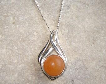Natural Carnelian Necklace, Northumbrian Orange Carnelian Pendant, English Carnelian Cabochon Necklace, Natural Jewellery, Handmade Gifts UK