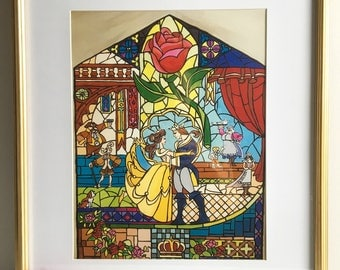 Beauty & The Beast Stained Glass Window Painting Original Artwork Print.