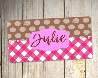 Pink personalized car tag, Custom Vanity plates, dot car accessory, Custom Vanity plates, personalized car tag, unique license plate