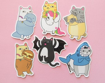 Cats in Costumes Vinyl Sticker Pack