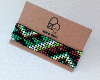 Forest tribal wrap bracelet beaded hand made native American style geometric cuff festival wristband boho bohemian gypsy free spirit green