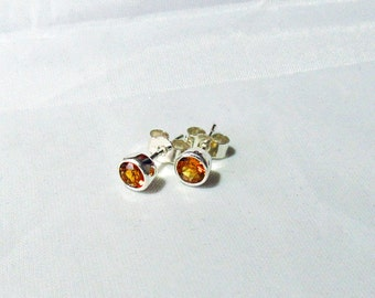 Sterling Silver Bezel Set 4mm Garnet Stud Earrings