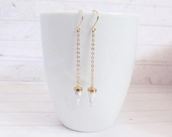 Marble Earrings, white Marble Earring,marble jewelry, chain earrings, ear thread earrings, thread earrings, threader earrings, long earrings