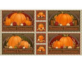 Harvest Greetings Picture Patch Panel from Quilting Treasures by the panel