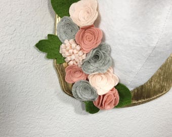 Pink pastel and grey felt flower swag
