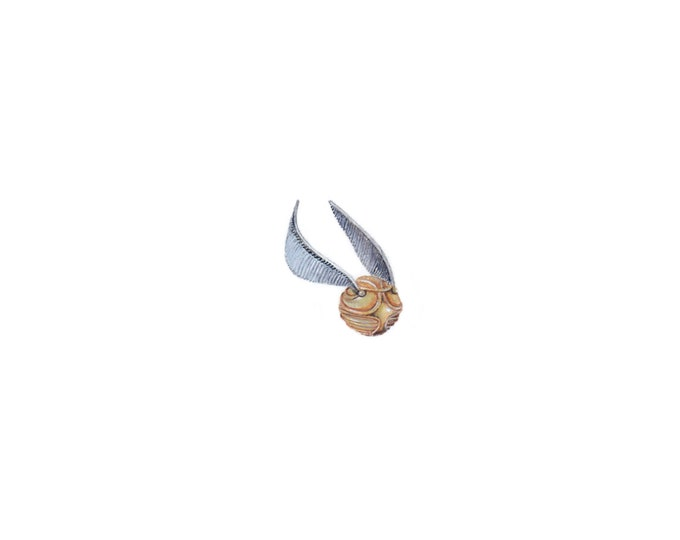 """Print of miniature painting of a Snitch from Harry Potter. 1 1/4""""x1 1/4"""" print of original Snitch painting on 5"""" square german etching paper"""