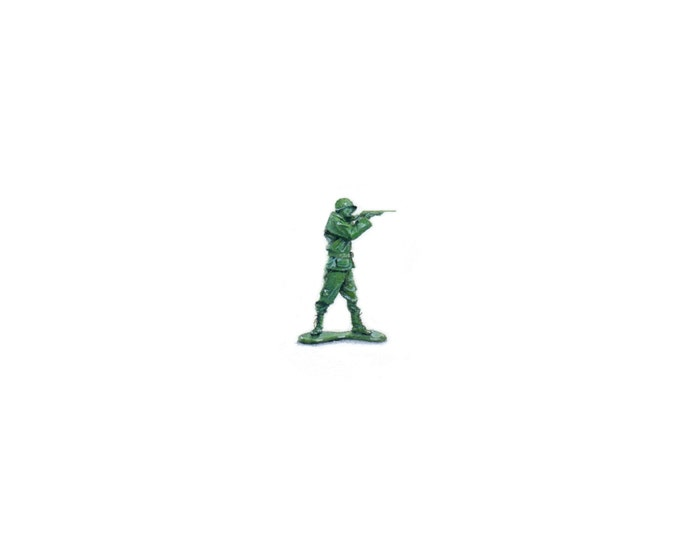 Original Miniature painting of a Vintage Toy Army Man. Tiny painting, Army Man tiny art 5 x 5