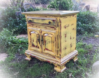 sold shabby chic nightstand distressed yellow rustic end table vintage