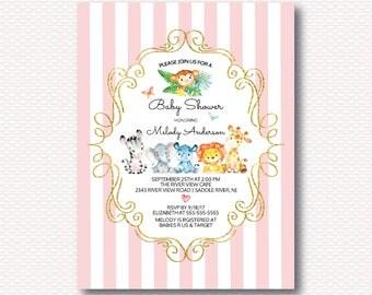 Safari Baby Shower Invitation, Safari, Jungle, Jungle Shower, Cute, Gold, Pink, Girl, Elephant, Giraffe,Lion, Monkey, Digital Printable
