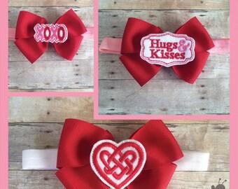 Valentine's Day Headband - Valentines Day Bow - Valentine Baby Headband - Baby Valentine's Day Headband - Heart Hair Bow - Valentines Bow