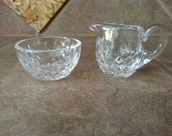 Beautiful Vintage Waterford Crystal Lismore Small Creamer & Sugar Bowl, Each Piece has Etched Identification, Excellent Condition, Nice Find