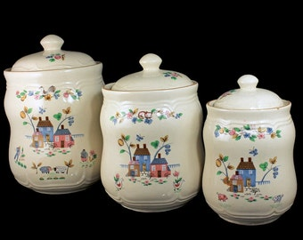 Canister Set, Heartland, International China, Set of 3, Flour Sugar & Coffee, Stoneware, Made in Thailand