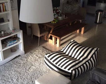 BEAN BAG chair, Black and white stripes beanbag, floor cushion, furniture for living room, large floor pillow, indoor pouf chair, large pouf