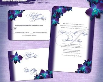 Orchid Wedding Invitation Set Digital, Printable Wedding Invitation Suite, Purple Orchid Invitation Printable, Printable Invitation Set