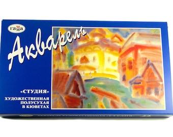 "WATERCOLOR Paint Set 24 ""GAMMA"" STUDIO  Russian Moscow, since 1899, artist gift, watercolor kit, watercolor paints"