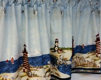 Nautical Lighthouse Border Curtain Valance