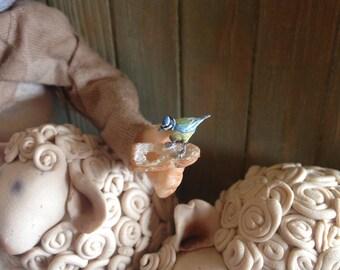 Dollhouse miniature handmade mary and her lambs, miniature 1/12 scale , dollhouse ,miniature ,handmade