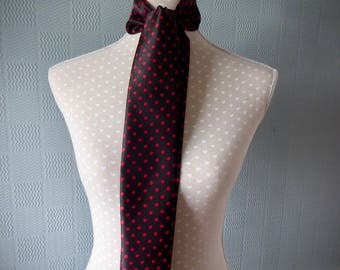 Black satin skinny scarf, red spotted mod scarf, satin polka dot scarf, black and red spotted thin scarf, red spotted tie/bow