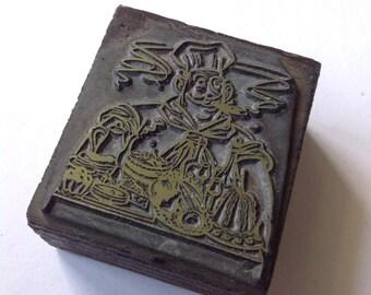 Vintage Cook letterpress printing block, wood metal stamp, vintage printing supply, printers block lp03