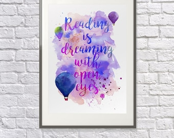 Reading Quote:  Watercolour Art -  Hot Air Balloon - Playroom Art - Childrens Gift - Encourage Reading - Nursery Print - Dictionary Option