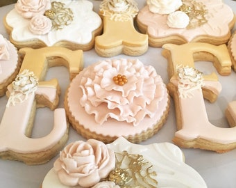 Vintage Floral Birthday Themed Sugar Cookies Champagne Blush