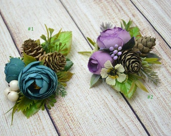Flower hair clip Purple Bridesmaid hair accessories Wedding hair clip Bridal hair clip Flower girl hair clip Gift for her Rustic wedding