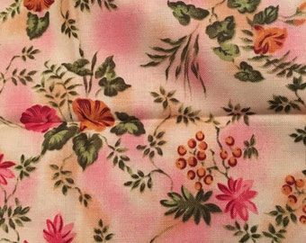 Pink Cotton Fabric, Beth Ann Bruske for David Textiles, Floral Fabric, Quilting Fabric, Half Yard