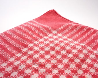 "Vintage Square Picnic Cloth | Red GIngham Houndstooth Checkers | 39"" x 39"""
