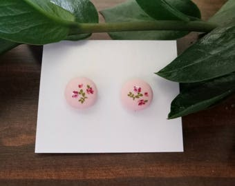 Pink Flower Fabric Button Stud Earrings 12mm