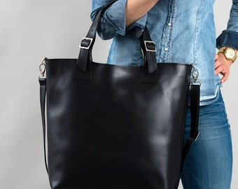 Huge Elegant Genuine Leather Bag Urban Style Tote Long Strap Black Color