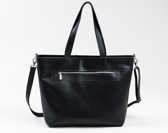 Elegant Genuine Leather Bag Urban Style Tote Long Strap Black Color