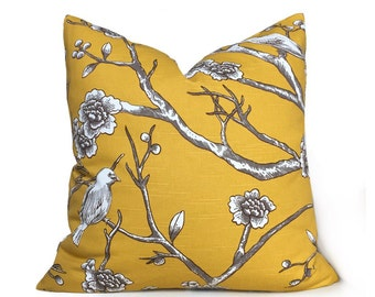"Robert Allen Dwell Studio Vintage Blossom Citrine Yellow Decorative Throw Pillow Cushion Zipper Cover Case, Fits 18"" 20"" 22"" 24"" 26"""