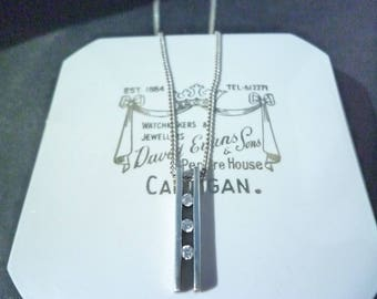 "Unique sparkly silver pendant necklace - 925 - sterling silver - CZ - Pendant 0.8"" - Necklace 16"""