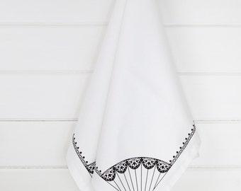 Paper Kite white cotton tea towel with black & white design