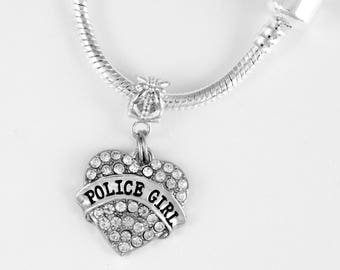 Police Girl Necklace Police Girl Jewelry Police Girl Cop Police Wife Officer Blue Line European Style Necklace