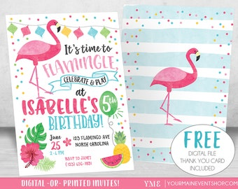 Flamingo Invitation, Let's Flamingle Invitation, Flamingo Birthday Invitation, Luau Pool Party, Summer Printable Invite, Tutti Frutti