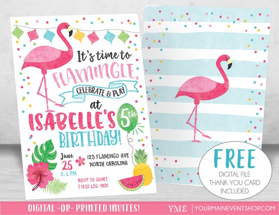 Flamingo Invitation Let's Flamingle Invitation Flamingo
