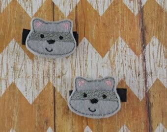 Raccoon hair clips, raccoon hair clippies, raccoon clippies, raccoon hair bows, pigtail bows, toddler hair clips, raccoon hair accessories