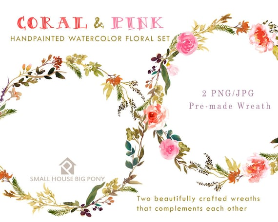 Digital Clipart- Watercolor Flower Clipart, peonies Clip art, Floral Bouquet Clipart, wedding flowers clip art- Coral and Pink Wreaths