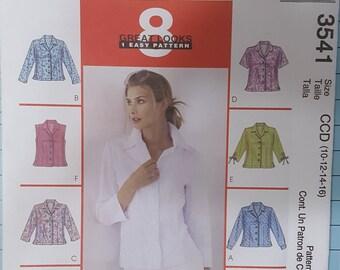 McCalls 3541 Misses Shirt Size 10-16